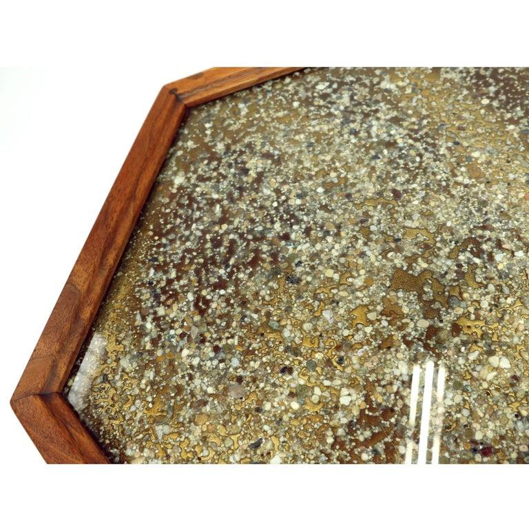 Mid-20th Century John Keal for Brown Saltman Hexagonal Walnut Enamel Side Tables For Sale