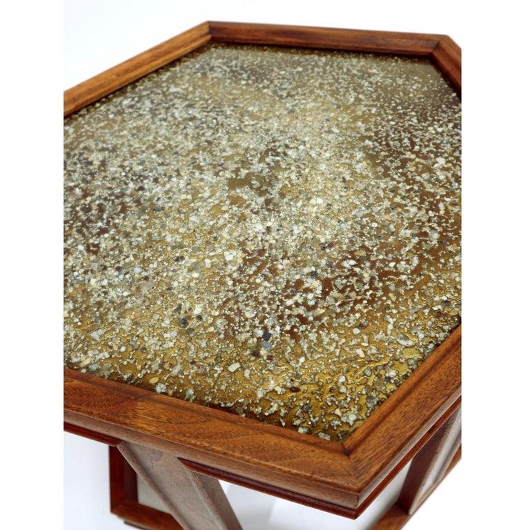 John Keal for Brown Saltman Hexagonal Walnut Enamel Side Tables For Sale 1
