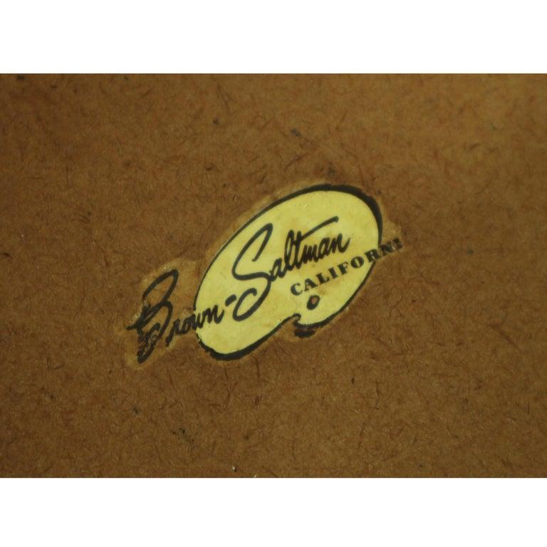 John Keal for Brown Saltman Hexagonal Walnut Enamel Side Tables For Sale 2