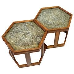 John Keal for Brown Saltman Hexagonal Walnut Enamel Side Tables