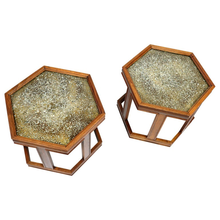 John Keal for Brown Saltman Hexagonal Walnut Enamel Side Tables For Sale