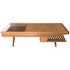 John Keal for Brown-Saltman Mahogany Coffee Table with Built-In Warmer, 1950s
