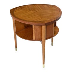 John Keal for Brown-Saltman Mahogany Drum Table Lazy Susan Cocktail Table 1950s