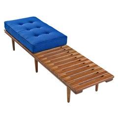 John Keal for Brown-Saltman Mahogany Slat Bench Coffee Table W/ New Cushion