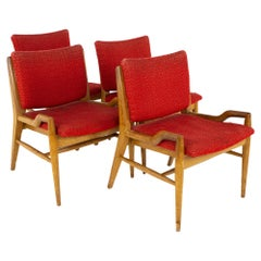John Keal for Brown Saltman Mid Century Mahogany Dining Chairs, Set of 4