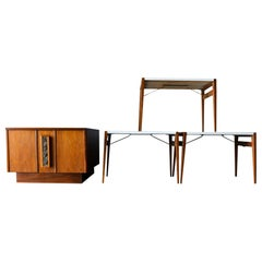 John Keal for Brown Saltman Side Table or Bar with Serving Trays, circa 1970