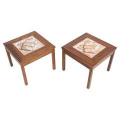 John Keal for Brown Saltman Snowbell Tree Tile Top Design, Walnut Side Tables