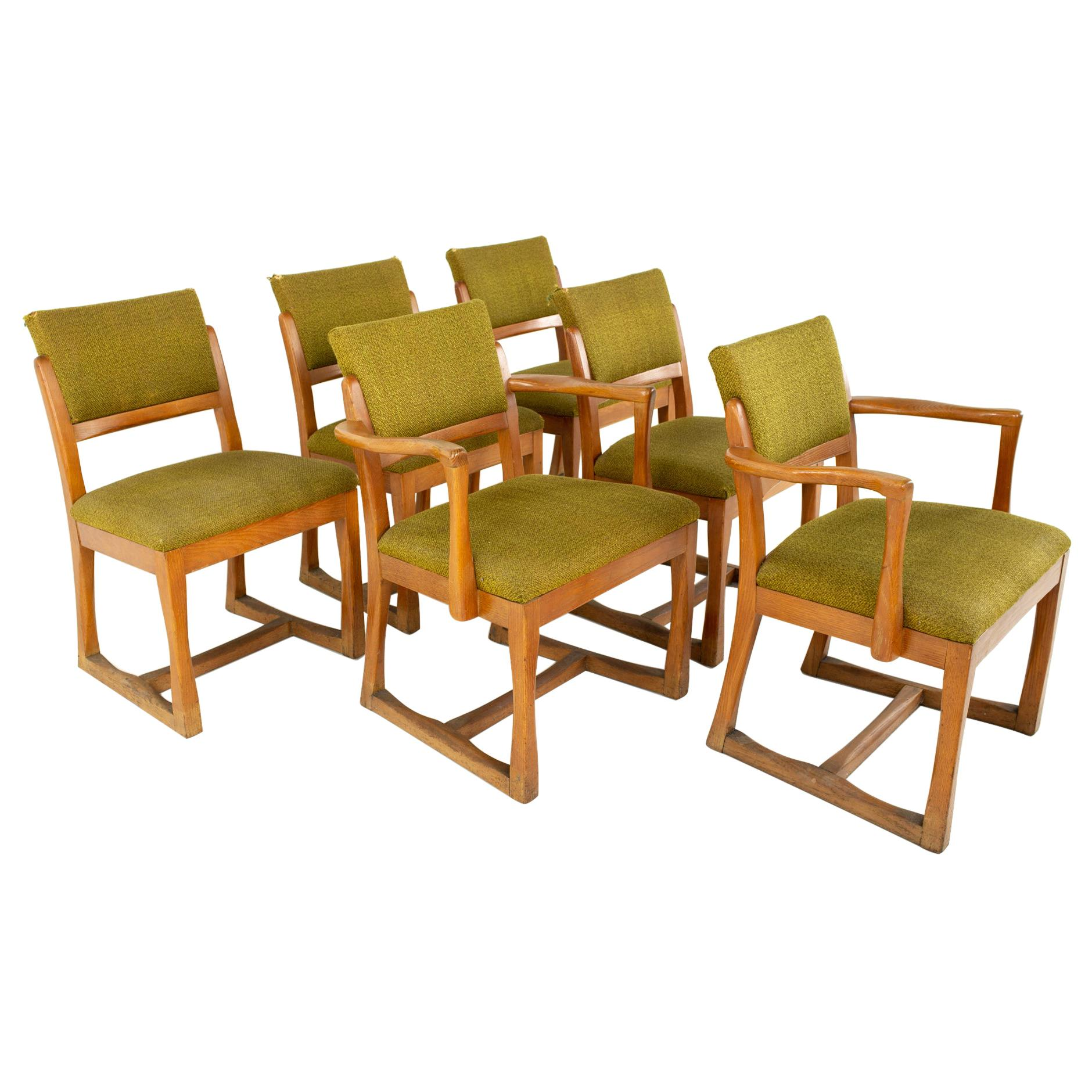 John Keal for Brown Saltman Style MCM Mahogany Dining Chairs, Set of 6