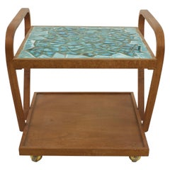 John Keal for Brown Saltman Style Mid Century Mosaic Side End Table Cart
