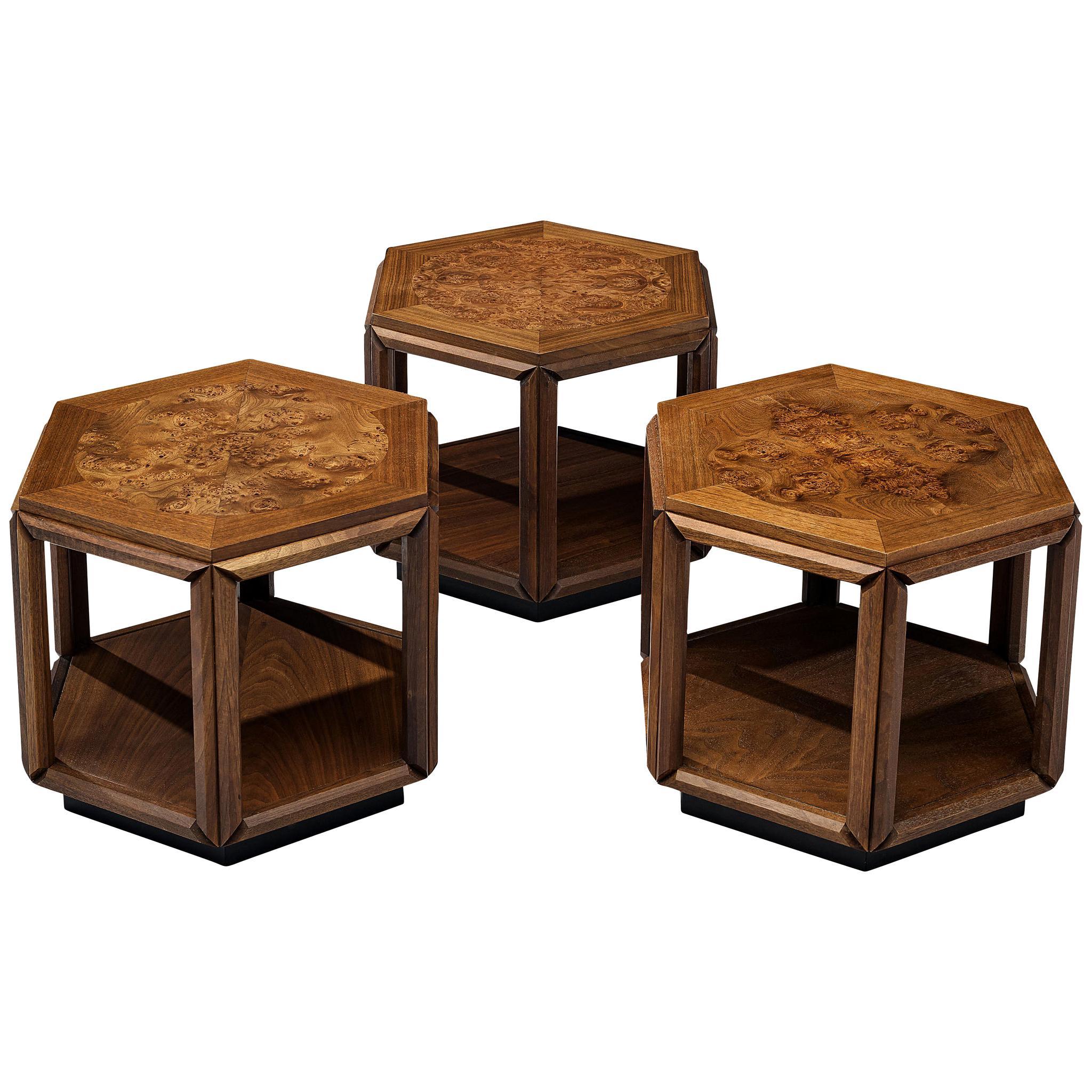 John Keal for Brown Saltman Three Hexagonal Coffee Tables in Walnut