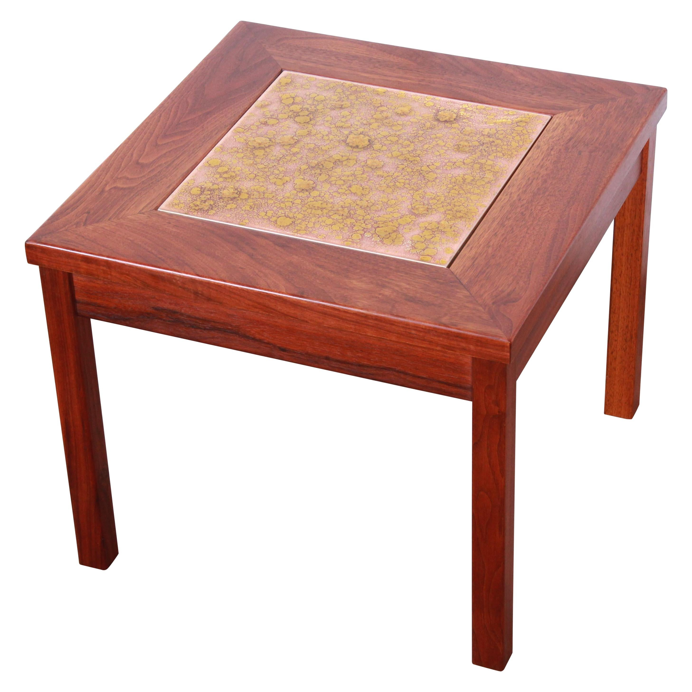 John Keal for Brown Saltman Walnut and Copper Tile Side Table, 1960s