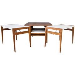 John Keal for Brown-Saltman Walnut and Laminate Folding Table Set