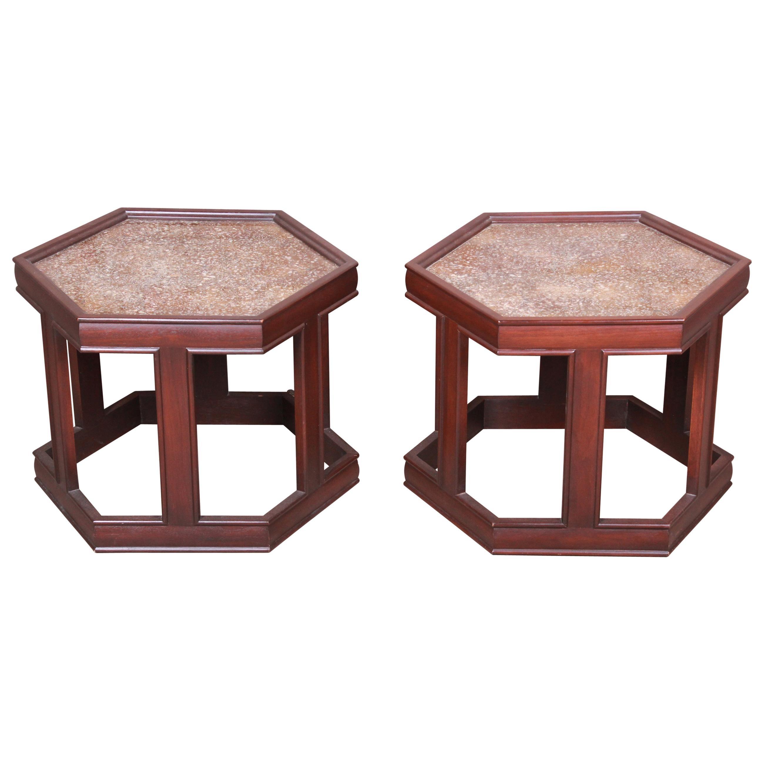 John Keal for Brown Saltman Walnut Hexagonal Side Tables, Pair