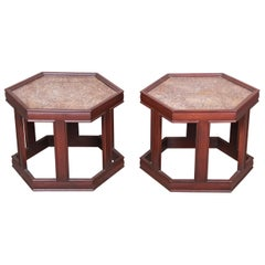 John Keal for Brown Saltman Walnut Hexagonal Side Tables, Pair