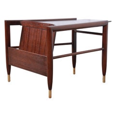 John Keal for Brown Saltman Wedge Magazine Rack Side Table, Newly Refinished