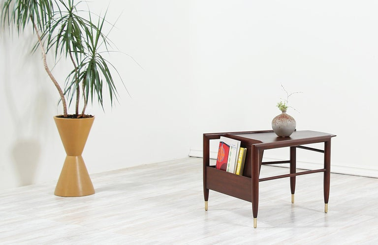 Mid-Century Modern John Keal Magazine Side Table for Brown Saltman For Sale