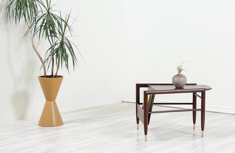 John Keal Magazine Side Table for Brown Saltman In Excellent Condition For Sale In Los Angeles, CA
