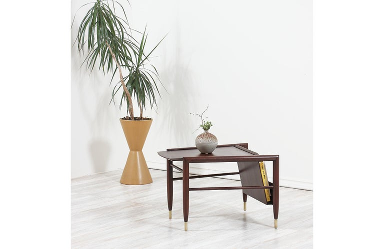 Mid-20th Century John Keal Magazine Side Table for Brown Saltman For Sale