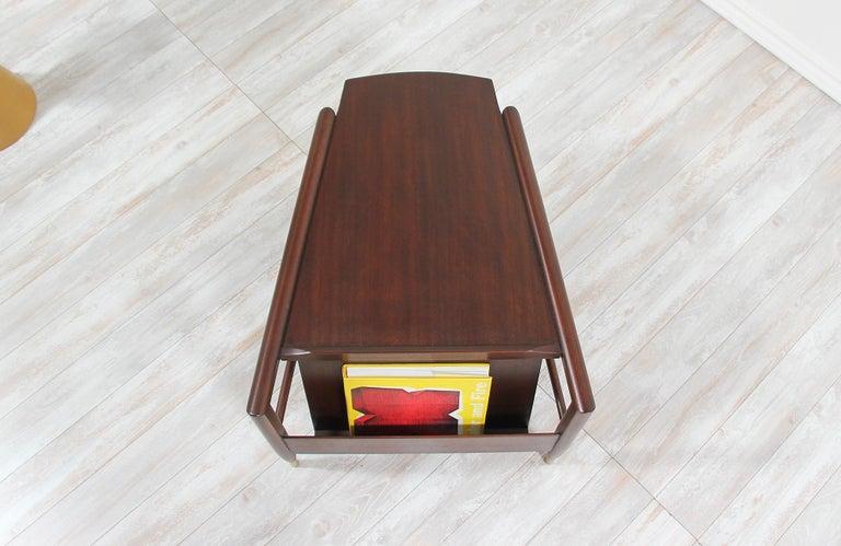 Walnut John Keal Magazine Side Table for Brown Saltman For Sale