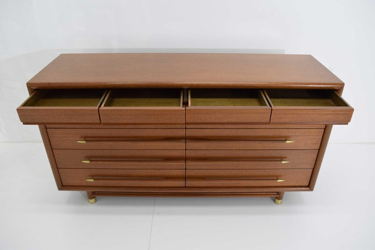 John Keal Mr. & Mrs. Chest of Drawers in Walnut with Brass Sabots, 1950s For Sale 4