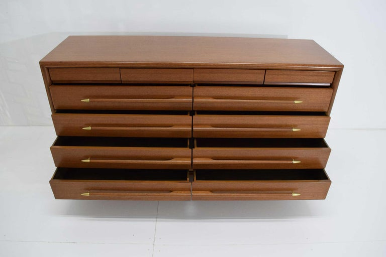 John Keal Mr. & Mrs. Chest of Drawers in Walnut with Brass Sabots, 1950s For Sale 5