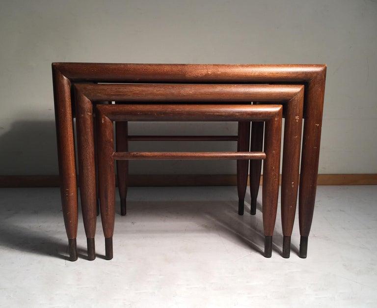 Mid-Century Modern John Keal Nesting Tables for Brown Saltman For Sale