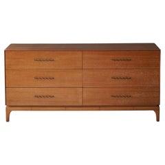 John Keal, Rare Dresser / Chest of Drawers, Wood, Brass, Brown Saltman USA 1950s