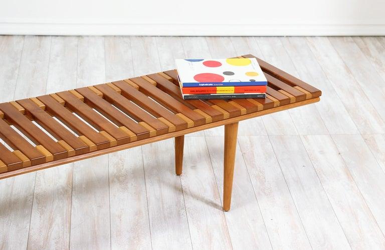 John Keal Slatted Bench for Brown Saltman For Sale 4
