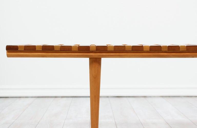 John Keal Slatted Bench for Brown Saltman For Sale 5