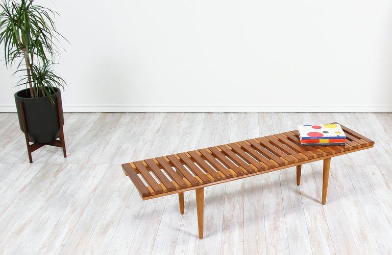 John Keal Slatted Bench for Brown Saltman In Excellent Condition For Sale In Los Angeles, CA