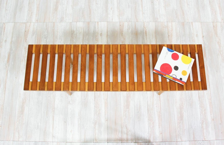 Mid-20th Century John Keal Slatted Bench for Brown Saltman For Sale