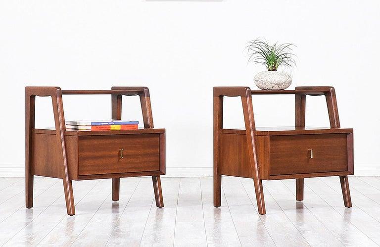 Art Nouveau John Keal Two-Tier Nightstands for Brown Saltman For Sale
