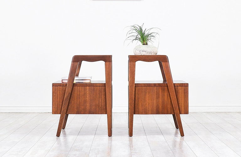 Stained John Keal Two-Tier Nightstands for Brown Saltman For Sale
