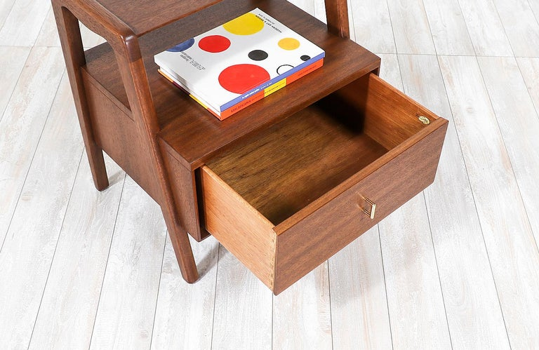 Mid-20th Century John Keal Two-Tier Nightstands for Brown Saltman For Sale