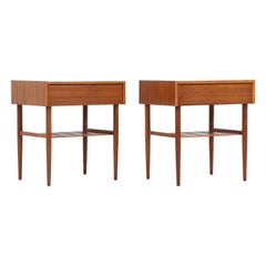 John Keal Two-Tier Walnut Nightstands for Brown Saltman