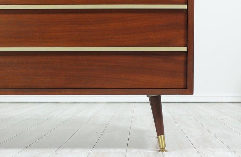 John Keal Walnut and Brass Dresser for Brown Saltman 4
