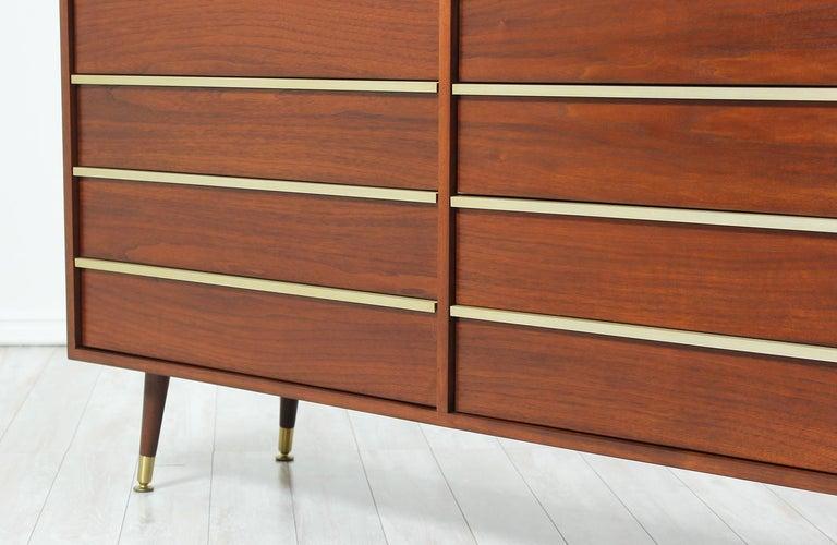 John Keal Walnut and Brass Dresser for Brown Saltman 5