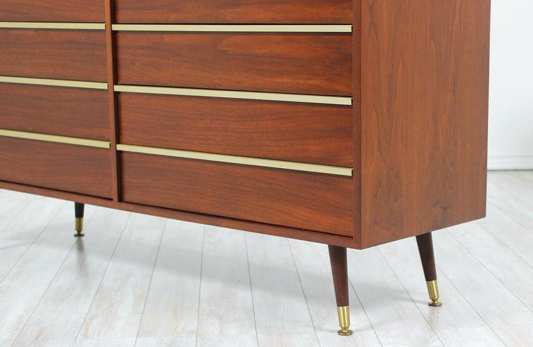 John Keal Walnut and Brass Dresser for Brown Saltman 6