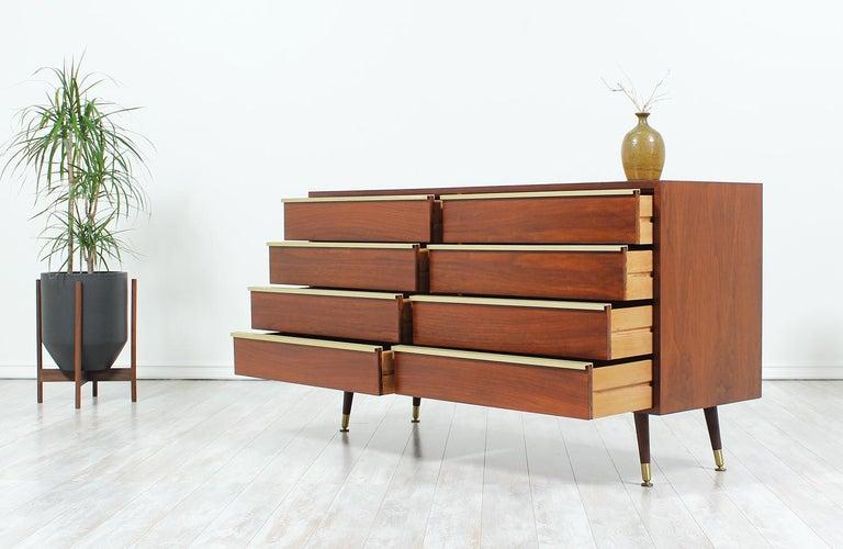 American John Keal Walnut and Brass Dresser for Brown Saltman