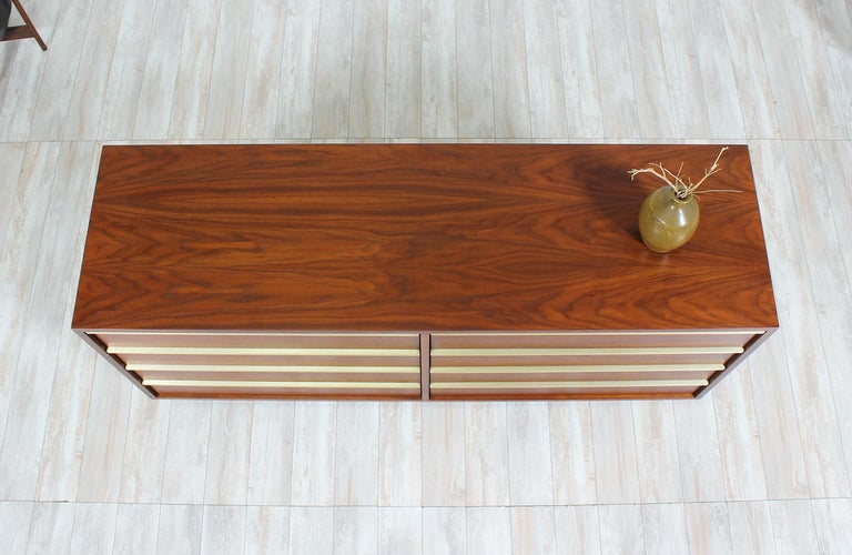 Mid-20th Century John Keal Walnut and Brass Dresser for Brown Saltman