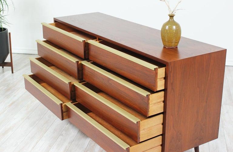 John Keal Walnut and Brass Dresser for Brown Saltman 1