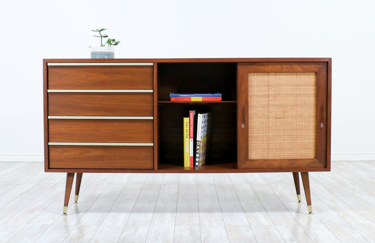 Mid-Century Modern John Keal Walnut Credenza with Cane Doors for Brown Saltman For Sale