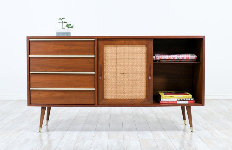 American John Keal Walnut Credenza with Cane Doors for Brown Saltman For Sale