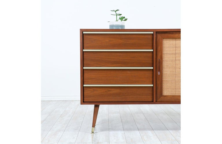 John Keal Walnut Credenza with Cane Doors for Brown Saltman For Sale 1
