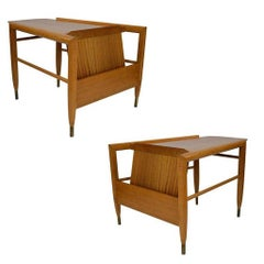 "John Keal ""Wedge"" Magazine Side Table for Brown Saltman, Pair"