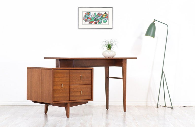 Mid-Century Modern John Keal Writing Desk with Bookshelf for Brown Saltman For Sale