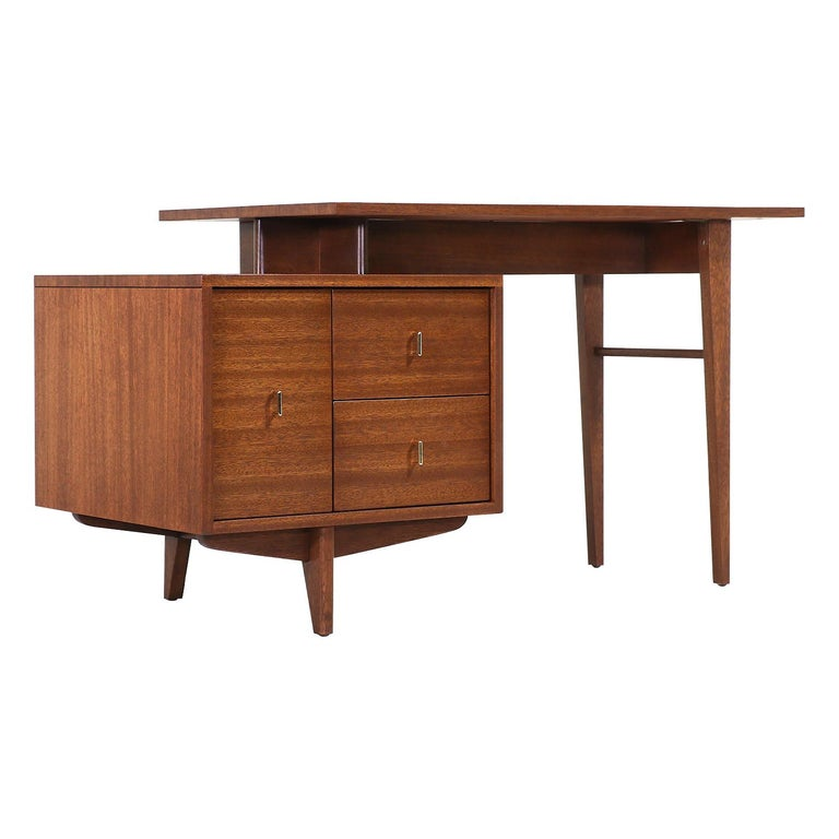 John Keal Writing Desk with Bookshelf for Brown Saltman For Sale
