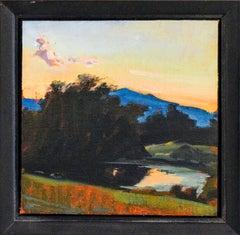 Autumn Landscape: Framed Hudson ValIey Impressionist En Plein Air Oil Painting