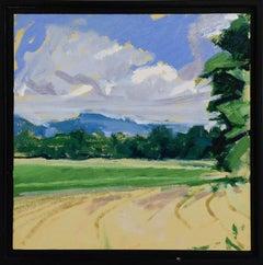 Below Bard: Framed Impressionist Hudson Valley Summer Landscape Oil Painting