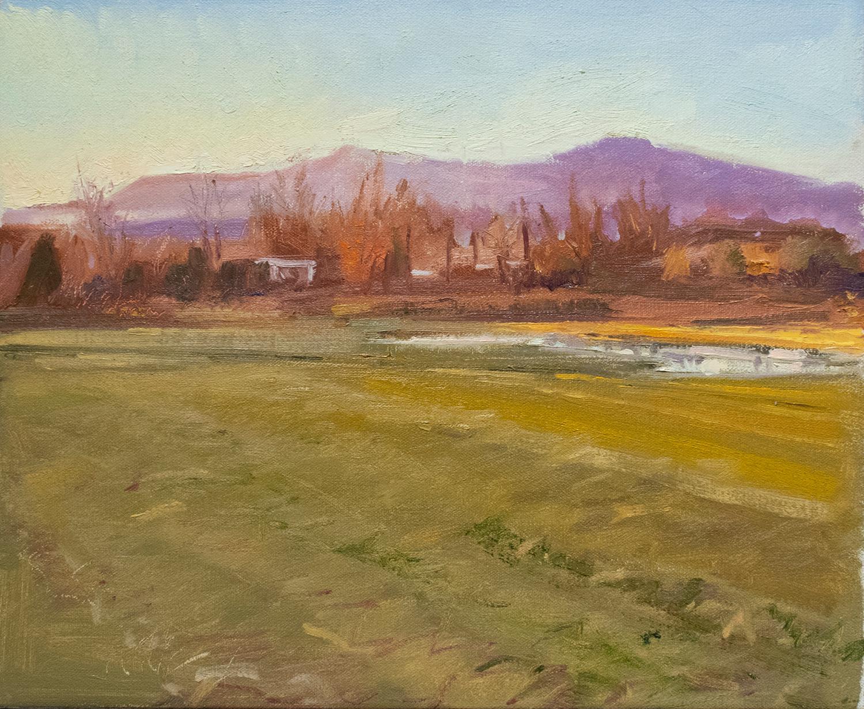 Below Tivoli: Impressionist Style En Plein Air Landscape Painting, Framed